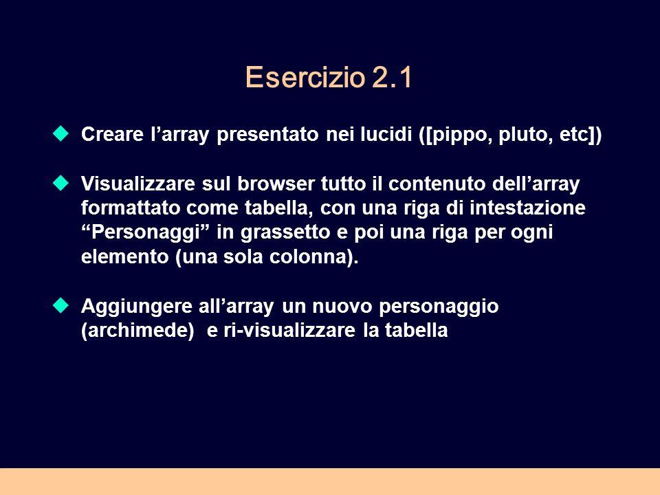 Esercizio 2.1 Creare l'array presentato nei lucidi ([pippo, pluto, etc])